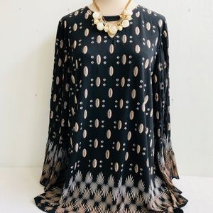 Alfani Boho Print Smocked Bell Sleeve Tunic Top